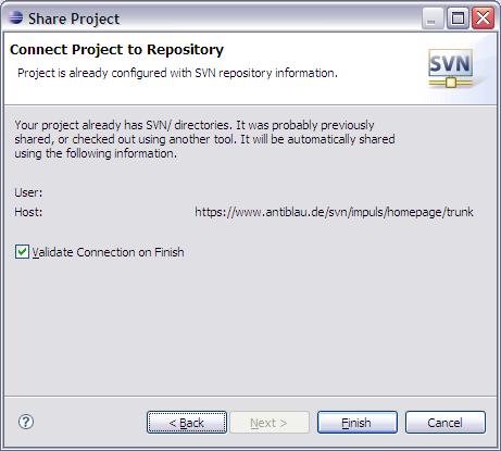 Subversion Working Copy Eclipse wieder bekannt machen