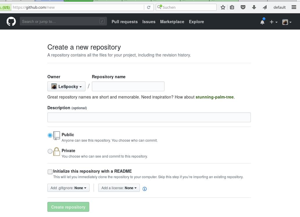 Screenshot GitHub new repository creation